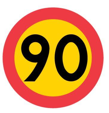 Vägmärke: hastighetsbegränsning 90 km/tim.