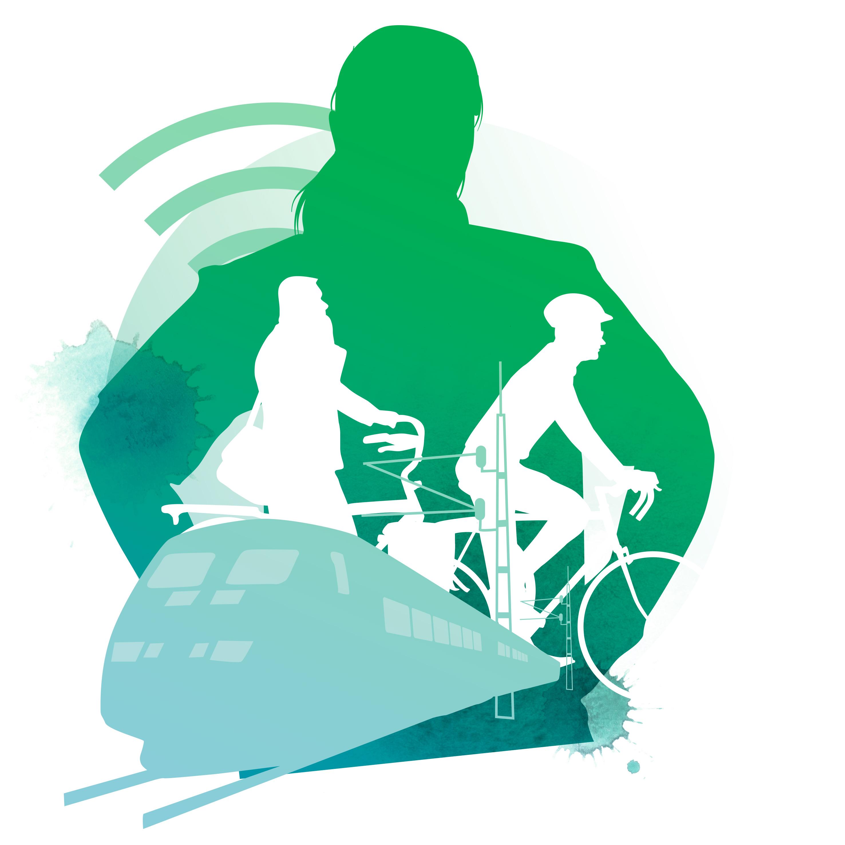 Illustration bredband och transporter