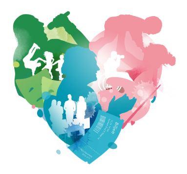 Illustration i form av ett hjärta med människor som utövar kultur.