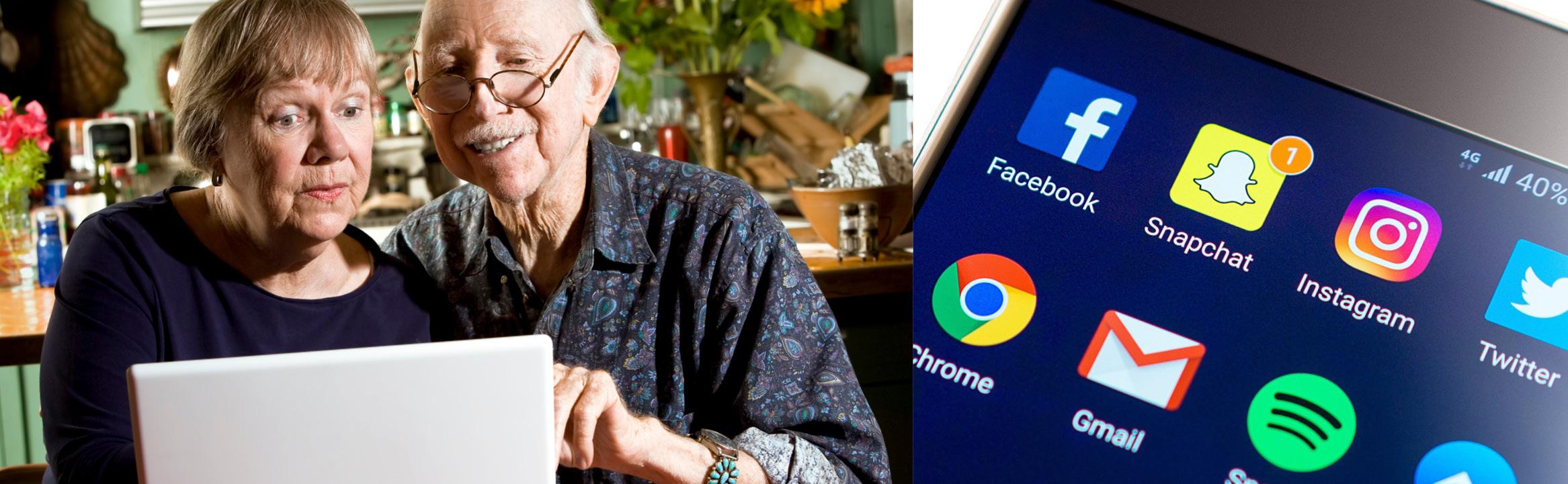 Äldre par framför dator och smartphone