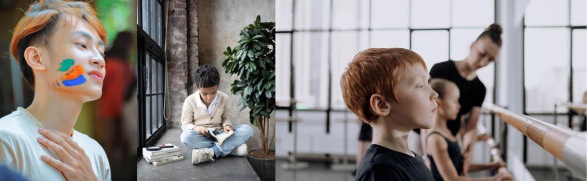 Pojkar som deltar i kulturaktiviteter: skapar konst, läser och dansar