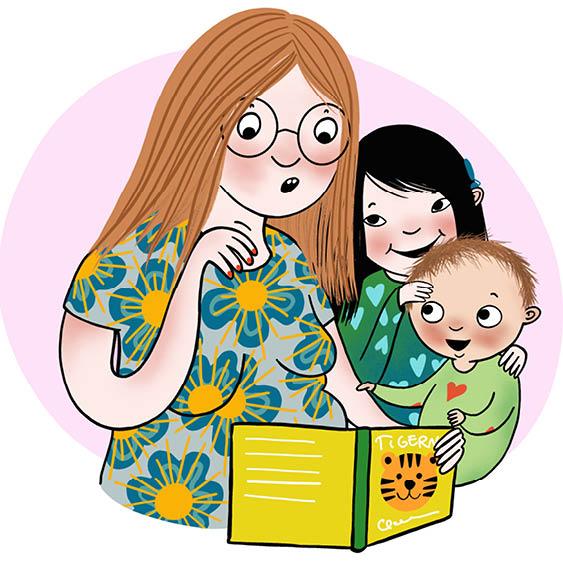 Illustration av Moa Graaf: förälder läser för bebis och barn